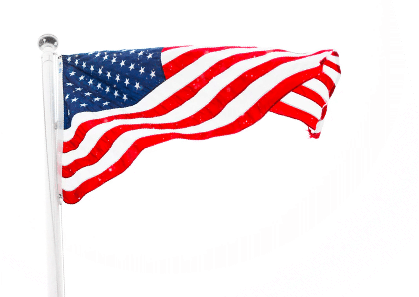 High contrast photo of the American flag raised at full-mast.
